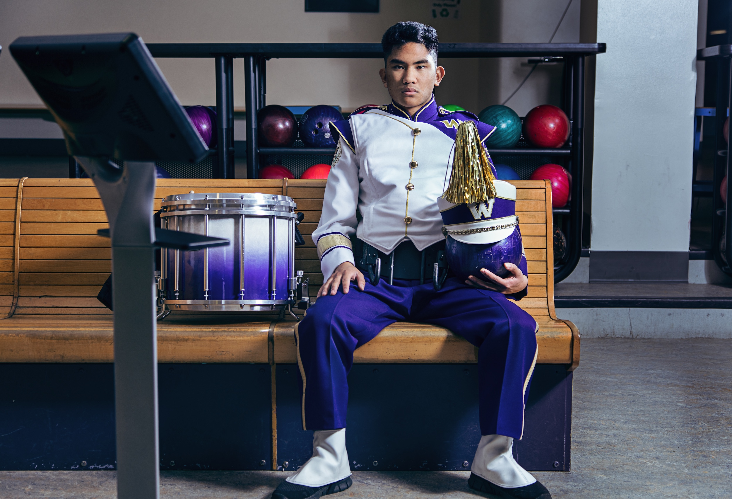 chris serica, husky marching band, snare drum, fiesta bowl, hub bowling alley, hub games room, uw hub bowling, uw hub