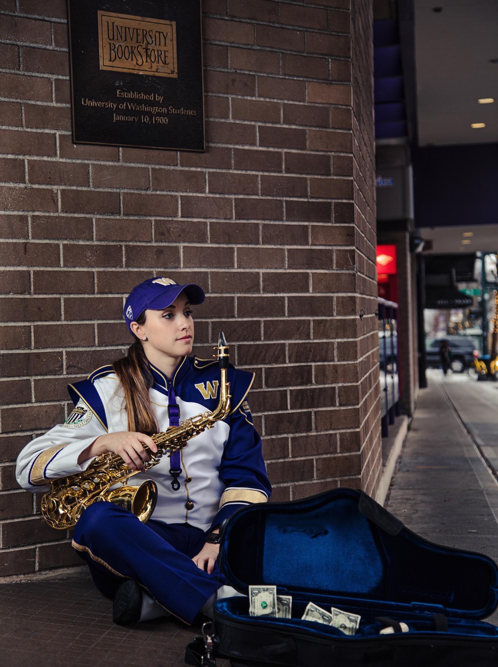sarah randall, saxophone uw, sarah randall saxophone, marching band uw, uw book store
