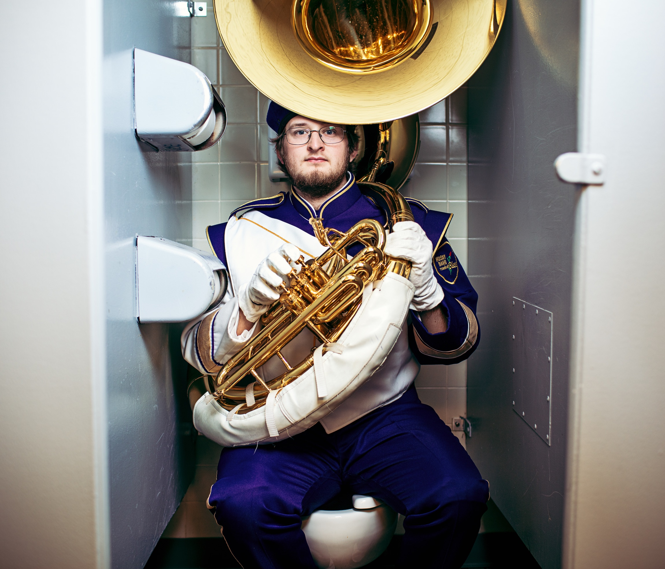 jeffrey whaley, jeff whaley, sousaphone uw, uw marching band, by george cafe