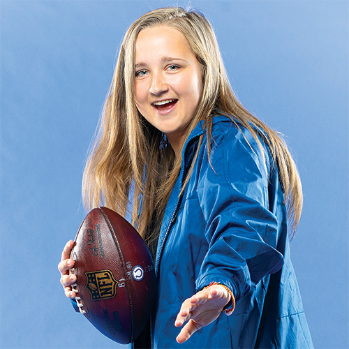 Kasia Omilian with a football