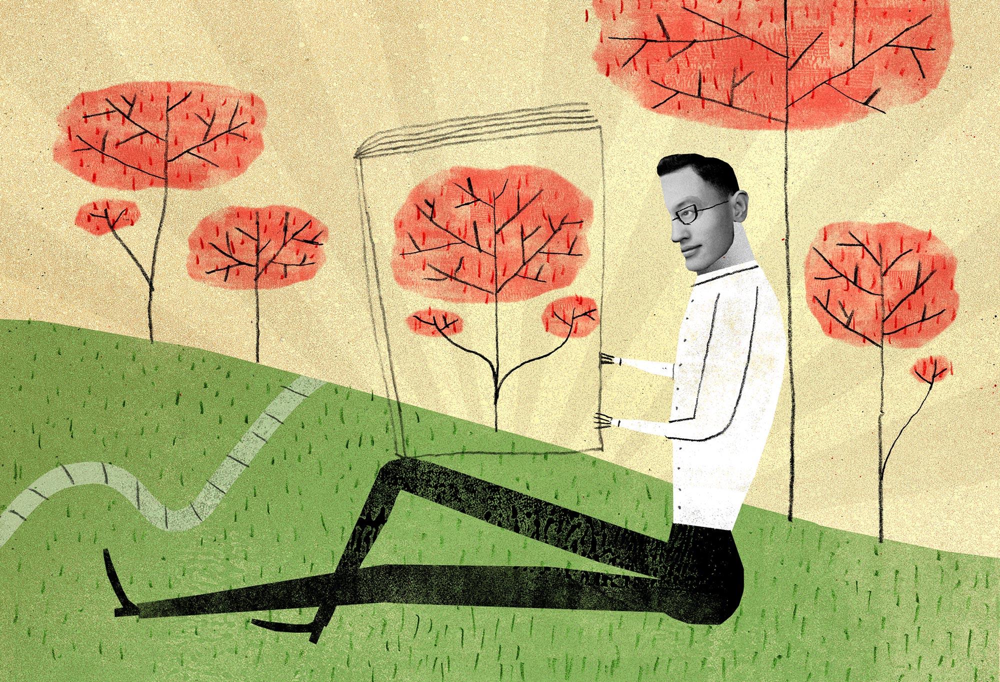 Illustration of man reading magazine.