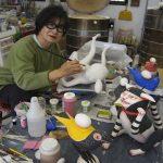 Patti Working in her studio in 2013
